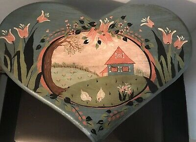 Vintage Heart Shaped Folk Art Small Wood Milking Stool Hand Painted Signed