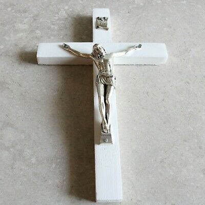 "Wall Crucifix Wood White 8"" Made in USA Decor Christ Cross Crucifijo Catholic"