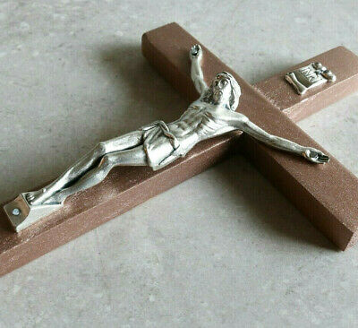 "Wall Crucifix Wood Bronze 8"" Made in USA Decor Christ Cross Crucifijo Catholic"