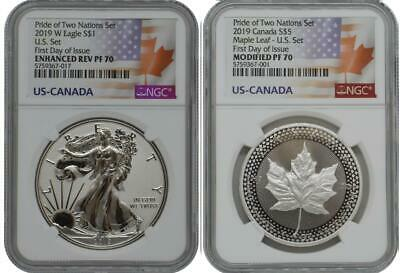 2019-W NGC PF70 FDOI 2 Coins Set Silver Reverse Proof Pride of 2 Nations Coins