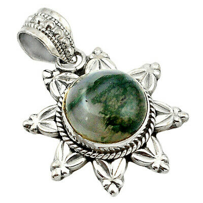 Liquidation Sale natural green moss agate 925 silver pendant jewelry d13203
