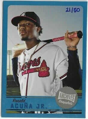 2019 Topps Archives Snapshots Blue Parallel Ronald Acuna Jr BRAVES #d 21/50