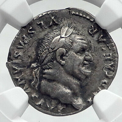 VESPASIAN Authentic Ancient 69AD Rome Genuine Silver Roman Coin NGC i80628