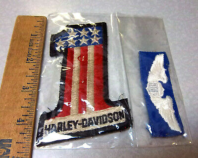 Harley Davidson Wings logo patch, & #1 Shaped Embroidered patch, USA flag colors