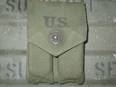 1-42-3 Authentic Late Post WWII WW2 Green OD7 M1923 Colt 1911 Officer's Pouch