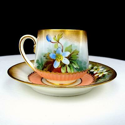 "George Jones & Sons Stoke Crescent Daffodil & Gold Demitasse 2"" Cup & Saucer"