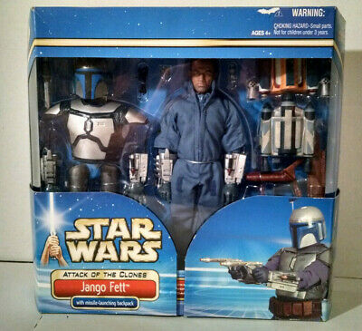 """Star Wars 2002 Attack of the Clones Jango Fett Missile Launching 12"""" Figure Nos"""