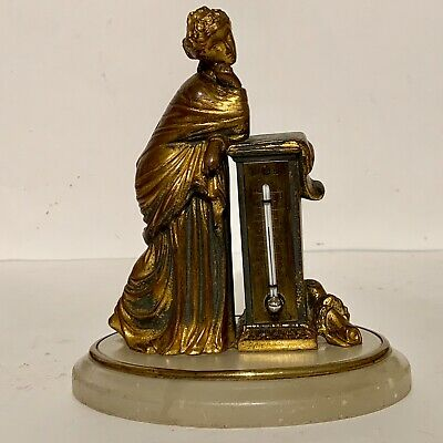 French 18th.-19th. century Thermometer.  gilded bronze & Alabaster mount