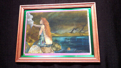 Fantasy Watercolor Painting - Unsigned Undated on Bainbridge Board Framed 11x15