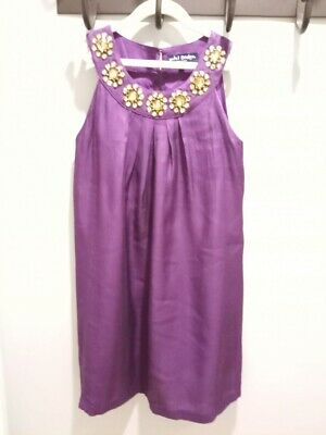EUC Mini Boden Girls Purple Sequin Holiday Special Occasion Dressy Dress  11 12