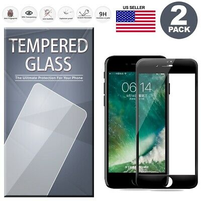 2PCS For iPhone 8/7/6S/6 PLUS Full Edge Cover 3D Tempered Glass Screen Protector