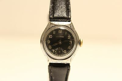 "Art Deco Vintage Ww2 Era Rare Small Ladies Germany Watch ""Junghans"" /Black Dial"