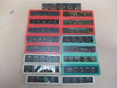 Magic lantern slides, mixed, hand-painted, children's, comedic, etc
