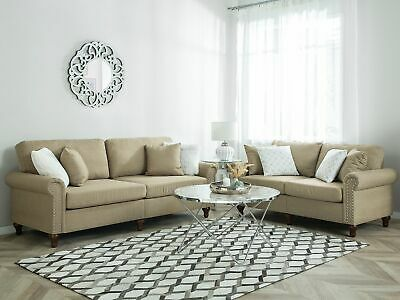 Modern Upholstered Sofa Set 2 and 3 Seater Throw Pillows Polyester Sand Beige Ot