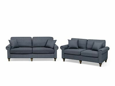Modern Upholstered Sofa Set 2 and 3 Seater Throw Pillows Polyester Dark Grey Otr