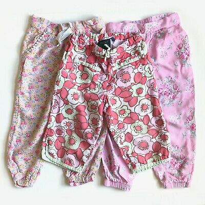 3 Pairs Girls Pink Floral Trousers - Size 2-3 Years - Mini Boden, Next & Mini Cl