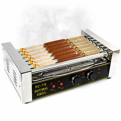 Commercial 18x Hot Dog 7 Roller Grill Stainless Steel Cooker Machine Taquitos