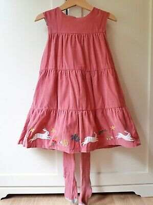 Boden Girls 3-4 Years Pink Cord Bunny Pinafore Dress w Matching Tights Christmas