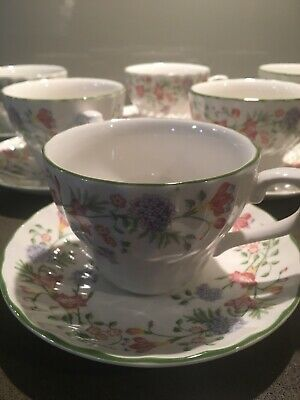 """Six Churchill """"Emily"""" Cups & Saucers"""
