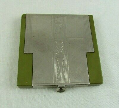 Vintage Richard Hudnut Compact, Chrome & Olive Green Acrylic, Art Deco-Rare
