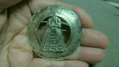 Vintage  Sterling Silver Ornate Wreath with Lady Figure  Brooch Pin