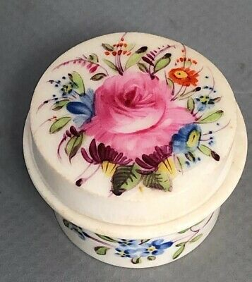 Antique Pretty Fine Porcelain Lidded Pill Patch Box Hand Painted Roses Floral