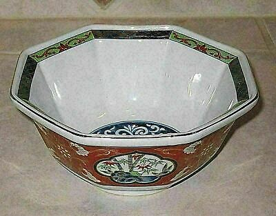 Outstanding Japanese Octagonal Red Imari Porcelain Bowl-Mint Condition