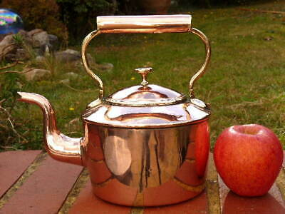 VICTORIAN ANTIQUE SMALL 'BATCHELOR' COPPER KITCHEN KETTLE  by WILLIAM SOUTTER