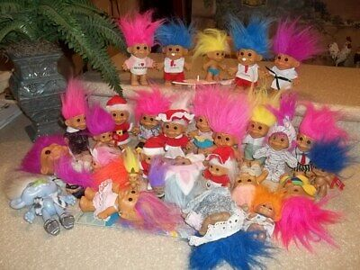 "Vintage Large Lot Dressed Troll Dolls DAM RUSS ACE BRIGHT AMERICA HASBRO 1""- 9"""
