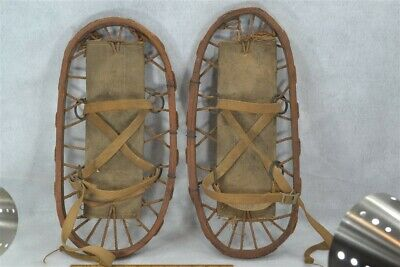 snow shoes small bear paw Army military dated 1943 WWII bent wood antique