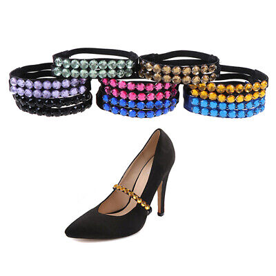 1Pair New Round Crystal Beaded Shoe Lace Elastic Band High Heel Shoe Decorati~GN