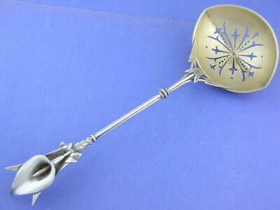 "Rare Sterling WHITING 9"" pierced Serving Spoon figural CALLA LILY handle c1870"
