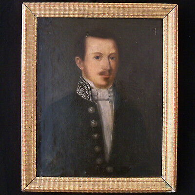 """Antique Baroque Oil Painting On Canvas With Frame  """"Portrait Of Noble"""" 1700-1800"""