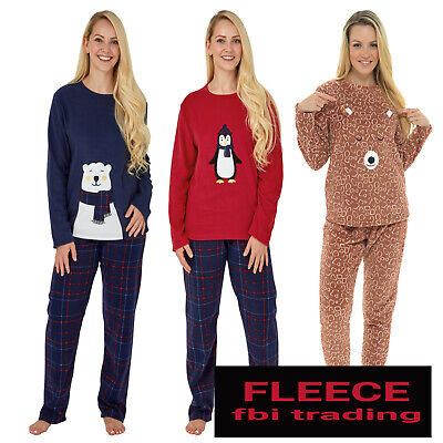 Ladies Womens Fleece Pyjamas Set Pjs Long Sleeve Top Night Lounge Wear  new