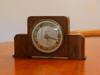 1930's Mappin Webb Small Wind Up Wooden Mantel Clock Working But Loses Time