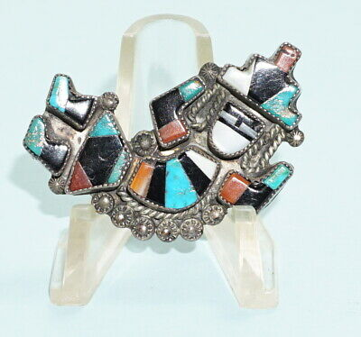 Vintage Mexico  Aztec Dancing Figure Sterling Silver Brooch Coral Jet Turquoise