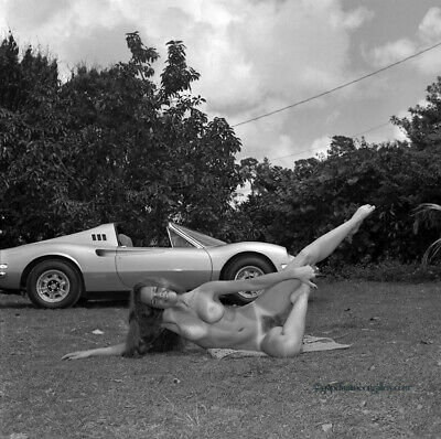 Bunny Yeager 1973 Pin-Up Camera Negative Photograph Nude Model And Ferrari Car