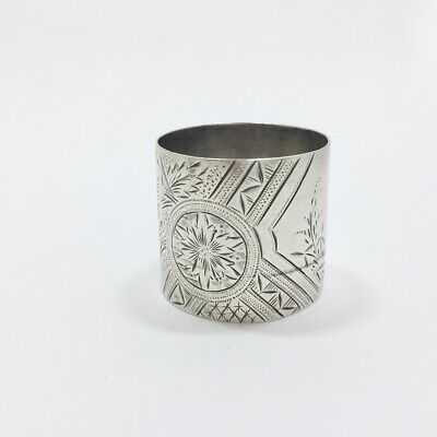 "Antique Bright Cut Floral Napkin Ring Sterling Silver Style 21 Engraved "" Mot..."