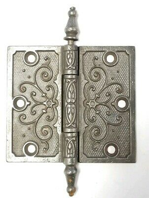 "EA198 Cast Iron Steeple Top Antique Ornate Door Hinge 4"" x 4 1/2"""