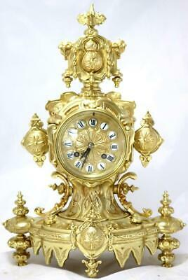 Antique Mantle Clock French Superb 1870s Eastern Style Bronze Bell Striking