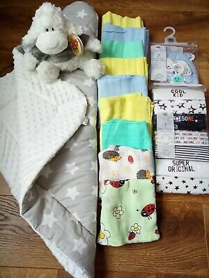 BNWT Baby boys bodysuits, hats, mitts, muslin squares, warm swaddle wrap 0-3 mth