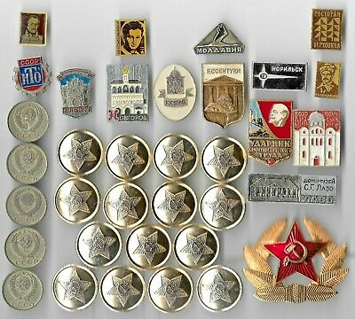 Rare Old Russia LENIN Vintage Badge Coin Collection CCCP WAR Russian Lot:us-Q54
