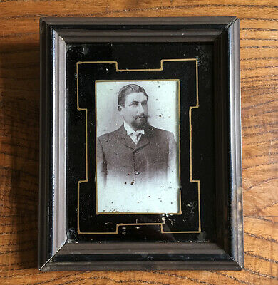 Antique Frame Wood and Glass Painted & Photo 19th - Antique French Frame 19thC