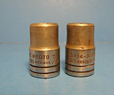 Pair of vintage PROTO  8 point sockets 7/16 Los Angeles # 5414-S  1/2 inch drive