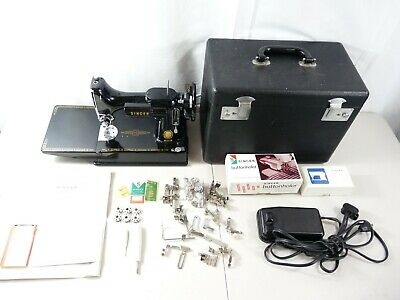 Singer Featherweight Sewing Machine 221 From 1950's w/ Case + Extras! AM 1957