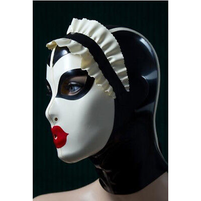 100% Latex Maske Rubber Hood Black and White Headgear Mask Red Lips Size S-XXL