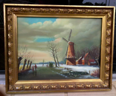 Old Vintage Snow Winter Landscape Oil Painting Windmill Pond Lake Ice Skaters
