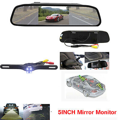 Car Wired 5'' HD Mirror Monitor+Back up Reverse Night vision Rear View Camera US