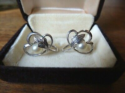 Vintage Mikimoto Cultured Pearl & Silver Screw On Earrings