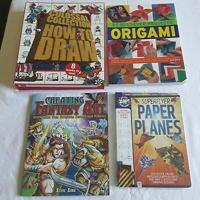 4 HOW TO DRAW, ORIGAMI & PAPER PLANES BOOKS Bulk Lot